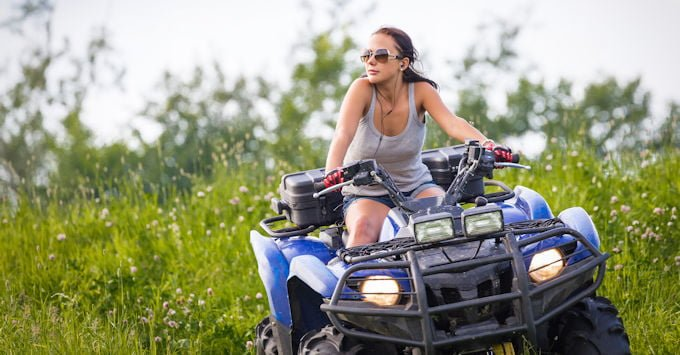Young woman on her ATV