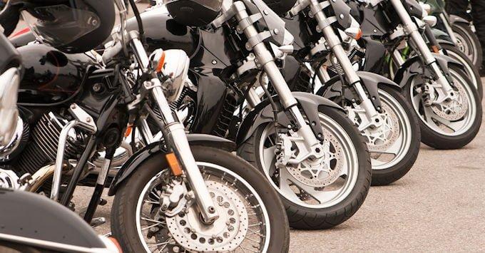 Row of Harley Davidson motorcycles